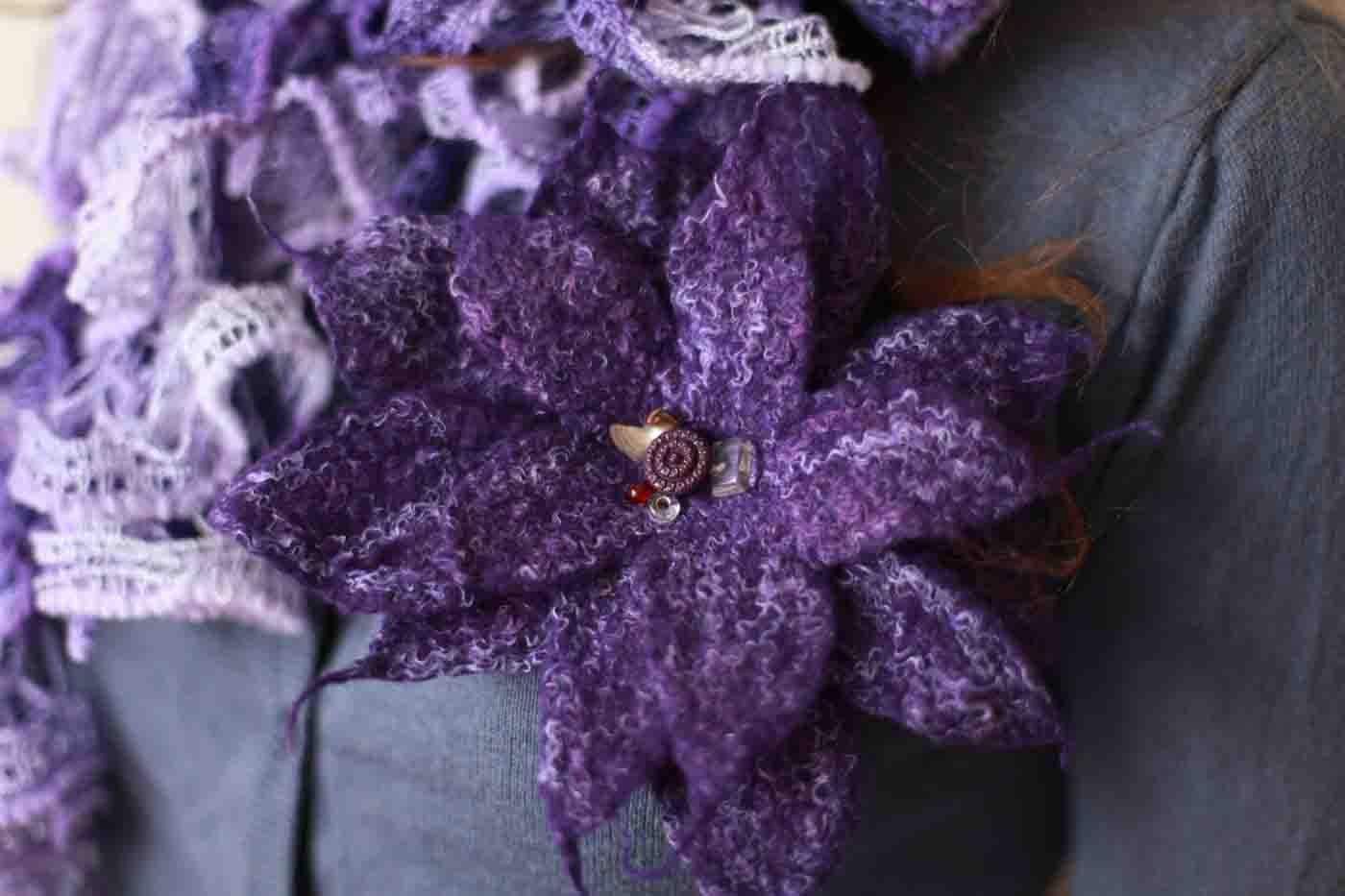"""брошь цветок """"Фиолетовое марево"""""""